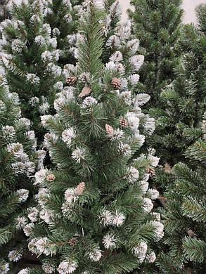 """Новогодняя елка """"Лидия"""" зеленая с белыми кончиками и шишками 1.5 м, фото 2"""