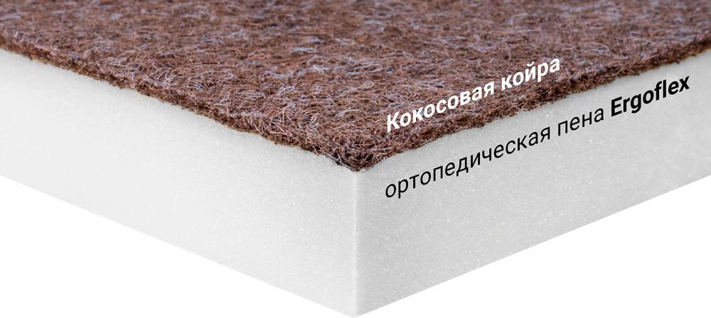 Мини-матрас скрученный  Sleep&Fly mini ЕММ Flex 2 в 1 Kokos (Флекс 2 в 1 кокос) стрейч