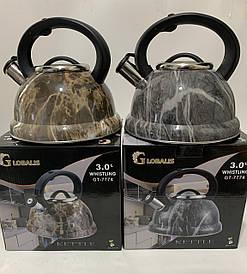 Чайник металлический под GLOBALIS Мрамор 3 литра МИКС (от 4 шт)