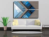 """Картина на холсте """"Абстрактный образ взгляда на современное здание из стекла и бетона"""""""