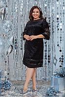 Бархатное черное платье для полных, фото 1