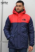 Мужская зимняя парка The North Face (Blue/Red), зимняя мужская синяя парка