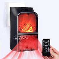 Портативный мини электрообогреватель имитация камина с пультом Flame Heater 500 Вт Черный 152668