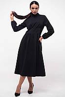 Стильное демисезонное платье с расклешенной юбкой миди 42-52 размера черный