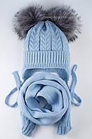 Красивый вязаный комплект Елка-2 из шапки и шарфа