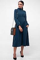 Стильное демисезонное платье с расклешенной юбкой миди 42-52 размера бриз