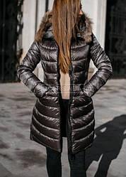 Куртка зимняя теплая с меховым капюшоном + (5 цветов)