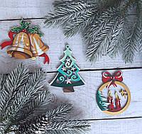 Рождественский набор новогодних игрушек на елку из дерева, ручная работа №1.