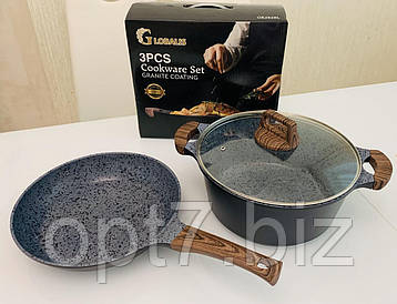 Набор посуды 3 предмета GLOBALIS c мраморным покрытием (кастрюля 6 л, сковорода 28 см+крышки стеклянные)