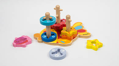 Деревянная игрушка Пирамидка - ключ MD 1174. 9 деталей.