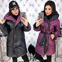 Женская качественная зимняя теплая двусторонняя куртка с поясом Разные цвета