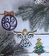 Рождественский набор новогодних игрушек на елку из дерева, ручная работа №2