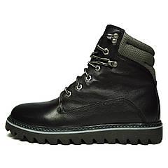 Черные зимние мужские кожаные ботинки MYKOS на меху ( шерсть ) ( Только 41 размер )