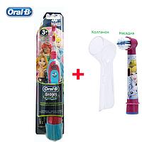 Oral-B Электрическая зубная щетка детская на батарейках (принцессы) + 1 насадка + колпачок