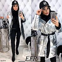 Женская качественная теплая зимняя двустороняя куртка Серебро с черным