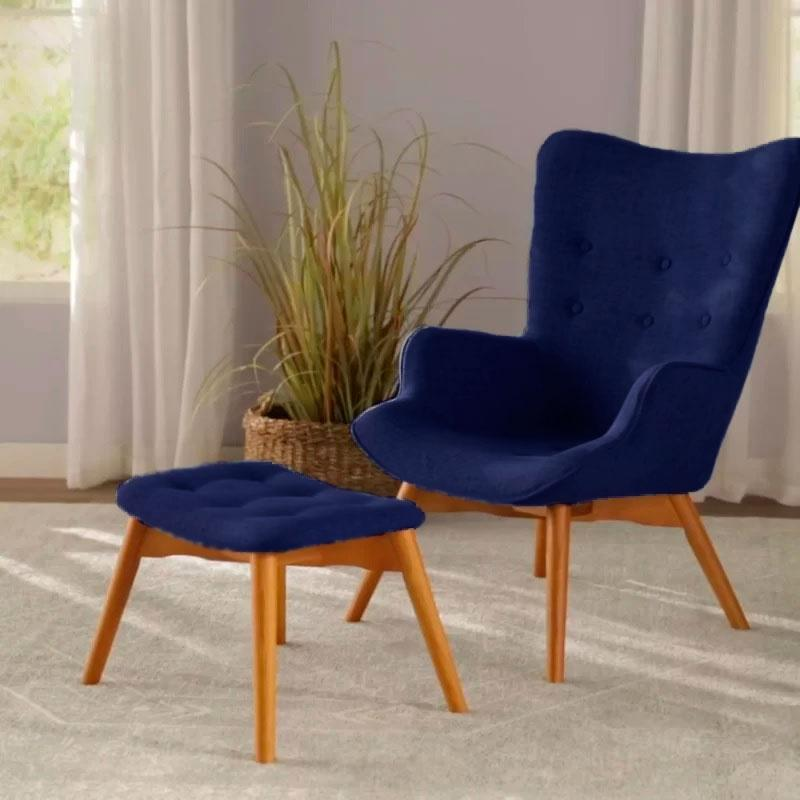 Кресло Флорино с табуреткой, пуфом, цвет синий