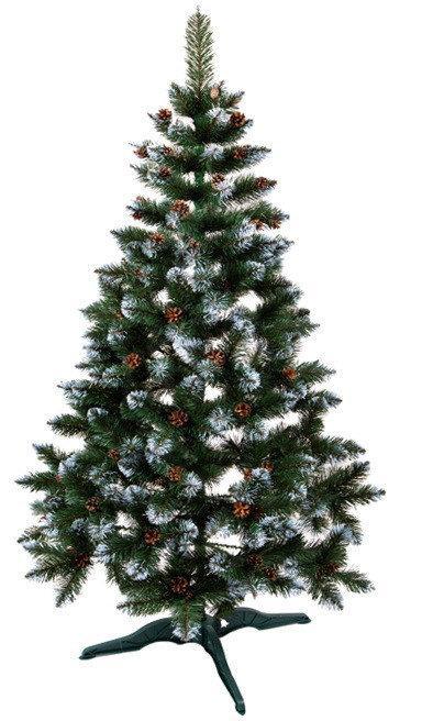 """Новогодняя елка """"Лидия"""" зеленая с белыми кончиками и шишками 2.2 м"""