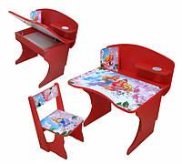 """Детская парта со стулом """"Принцессы"""" регулируемая по высоте от 2 до 8 лет."""