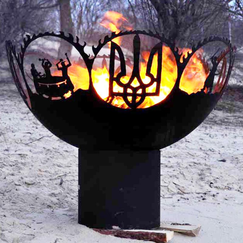 Очаг-полусфера Тризуб с казаком
