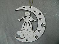 Новорічна дерев'яна підвіска янгол на місяці Новогодняя деревянная подвеска ангел на луне