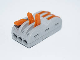 Многоразова клема-зєднувач PCT-223  з ричагами на 3+3 контакта (пак.-50шт)