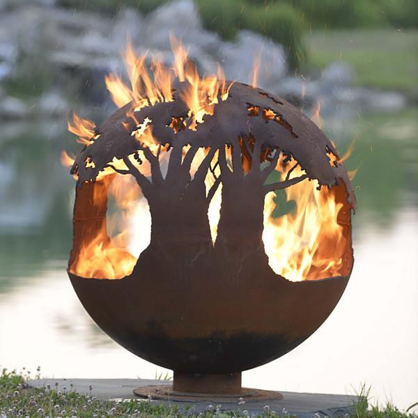 Очаг-шар Деревья в огне 900