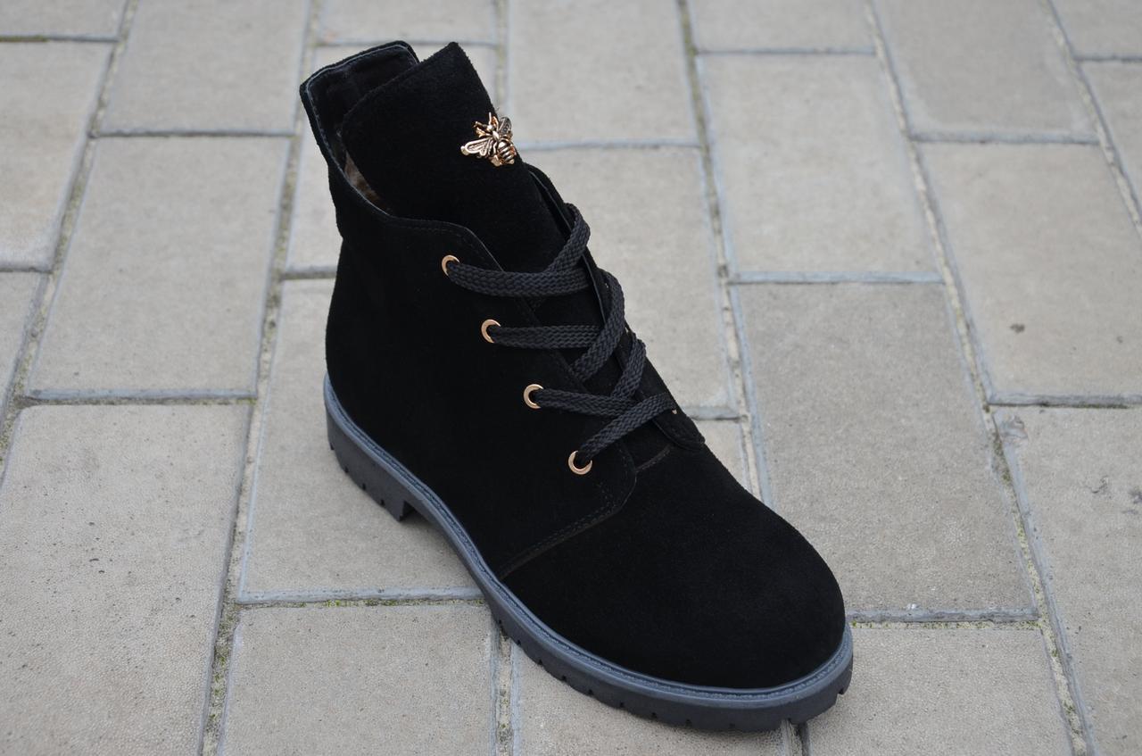 Ботинки подростковые для девочки замша черный зимние и демисезонные от производителя KARMEN 133129