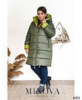 Удлиненная зимняя куртка с синтепононом 250 с контрастной подкладкой с 56 по 66 размер