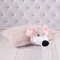 """Подушка-игрушка мышка """"Мышель"""", детская подушка трансформер, 43 см."""