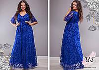 Элегантное батальное вечернее платье в пол с флоком. 5 цветов!, фото 1