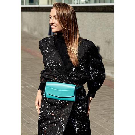 Кожаная женская сумка Элис бирюзовая, фото 2