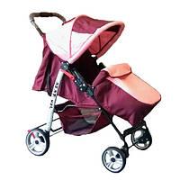Прогулянкова коляска-книжка Trans Baby Baby Car бордовый+розовый