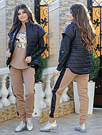 Женский тёплый костюм тройка (жилет + кофта + штаны) из трёхнитки с начёсом + плащёвка на синтепоне