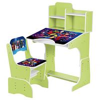 Детская парта со стульчиком 2071-86-5 Герои Марвел,цвет лайма.