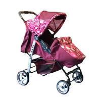 Прогулочная коляска-книжка Trans Baby Baby Car Baby бордовый+абст.красная