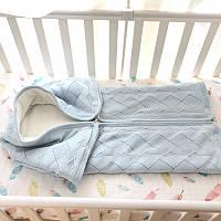Плед конверт в коляску на утеплителе для новорожденного хлопок Ninos Alegres BBL3004 90х 100 см светло голубой