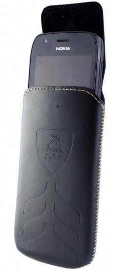 """Чехол-вытяжка Lamborghini кожаный чехол-вытяжка универсальный с диагональю до 4.5"""" черный"""