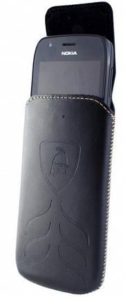 """Чехол-вытяжка Lamborghini кожаный чехол-вытяжка универсальный с диагональю до 5"""" черный, фото 2"""