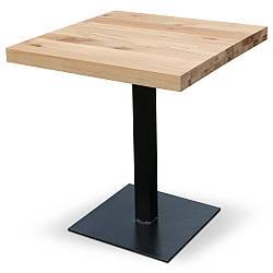 Столик для кафе HoReCa и ресторанов из массива дерева, опоры из металла