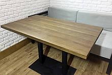 Прямоугольные столы для кафе баров HoReCa с массива дерева бука и ножки из металла