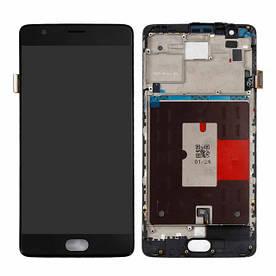 Дисплей для OnePlus 3 (A3003) | 3T A3010 с сенсорным стеклом в рамке (Черный) Оригинал Китай