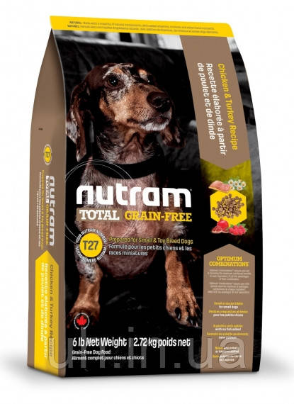 Nutram Total беззерновой корм для собак мелких пород с индейкой и курицей 20КГ