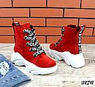 Женские зимние красные ботинки, из натуральной замши 3639 40 ПОСЛЕДНИЕ РАЗМЕРЫ, фото 4
