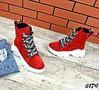 Женские зимние красные ботинки, из натуральной замши 3639 40 ПОСЛЕДНИЕ РАЗМЕРЫ, фото 5