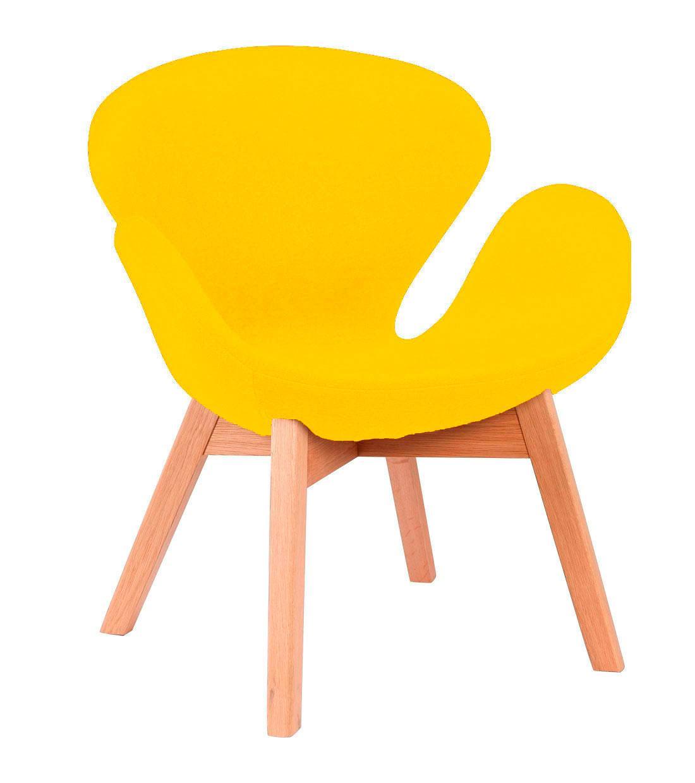 Кресло Сван Вуд Армз, ножки дерево бук, ткань, цвет желтый