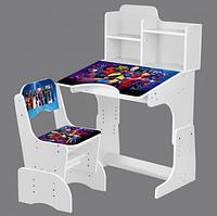 Детская парта со стульчиком 2071-86-1 Герои Марвел,белого цвета.