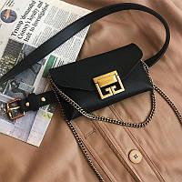 Женская поясная сумка с цепочкой из экокожи, черная