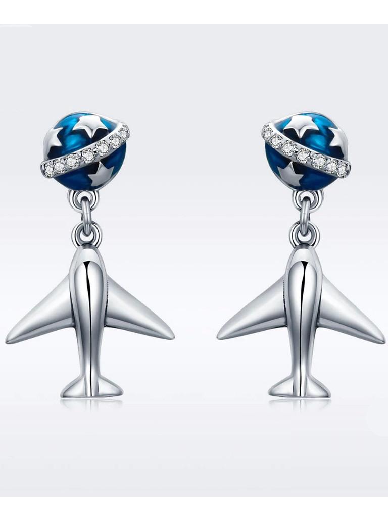 Срібні сережки-гвоздики Літак і зірки
