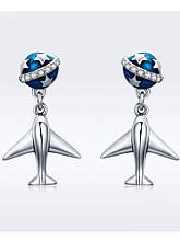 Серебряные серьги-гвоздики Самолёт и звёзды