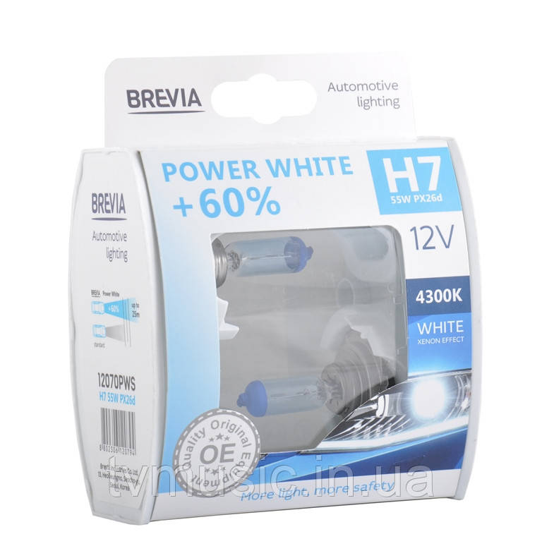 Автолампы BREVIA Power White +60% H7 12V 55W 4300K
